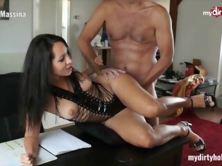 MyDirtyHobby - Busty secretary in stockings fucks her boss at the office vlxx mydirtyhobby amateur german